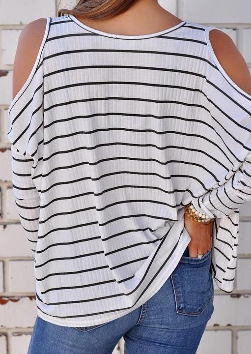 Striped V-Neck Cold Shoulder Blouse - White