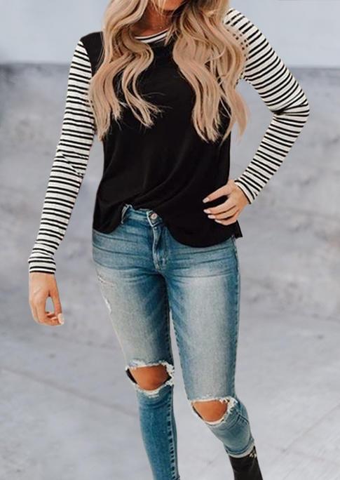 Striped Splicing O-Neck Long Sleeve Blouse - Black