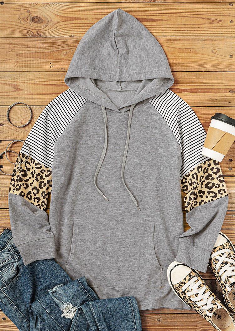 Striped Leopard Splicing Kangaroo Pocket Hoodie - Gray