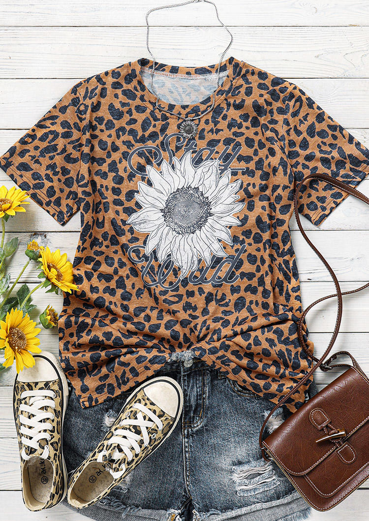 Sunflower Leopard Stay Wild T-Shirt Tee