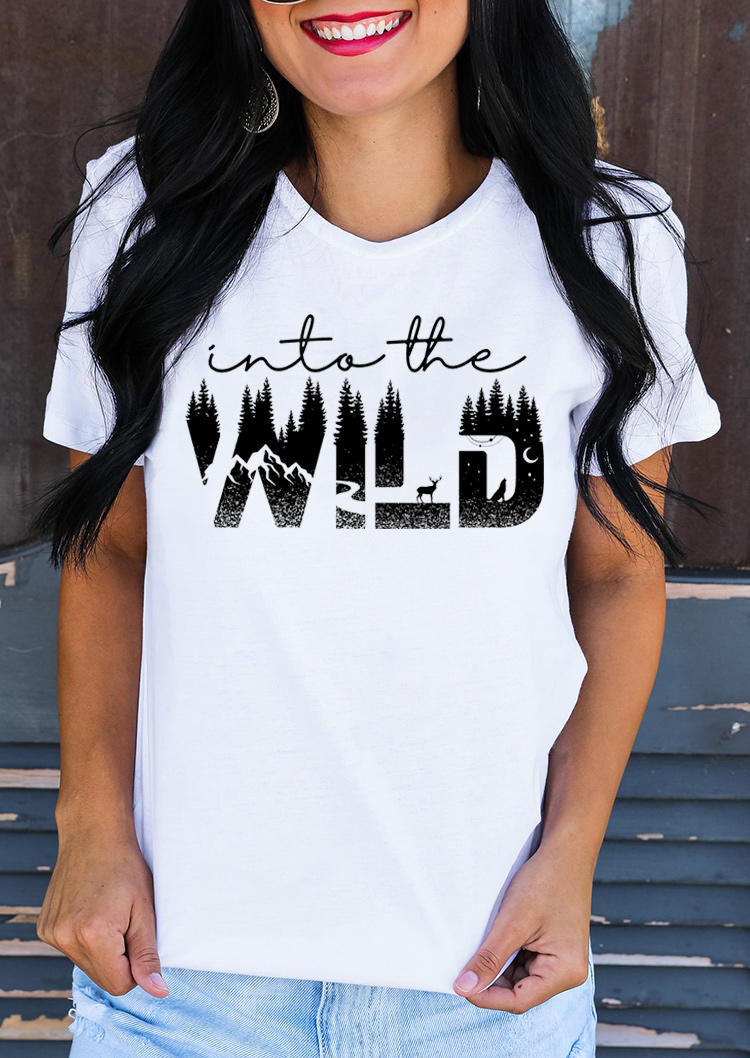 Into The Wild Forest Deer Moon T-ShirtTee - White