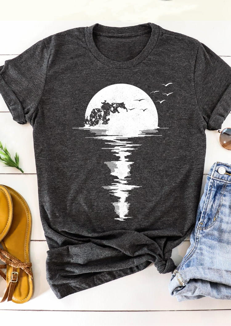 Moon Bird O-Neck T-Shirt Tee - Dark Grey