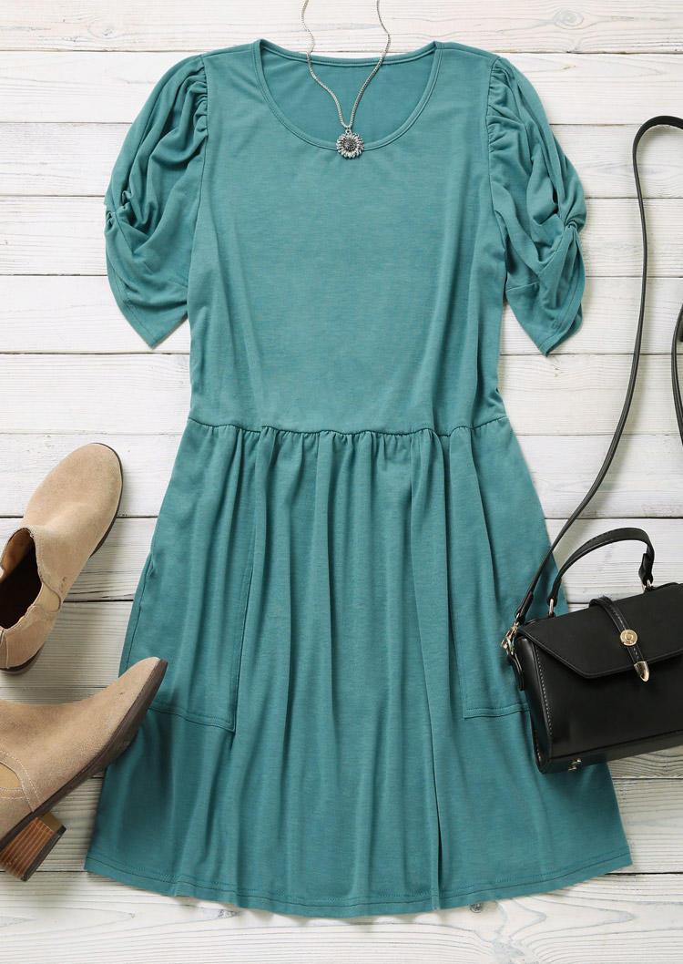 Ruffled Pocket Twist Short Sleeve Mini Dress - Lake Blue