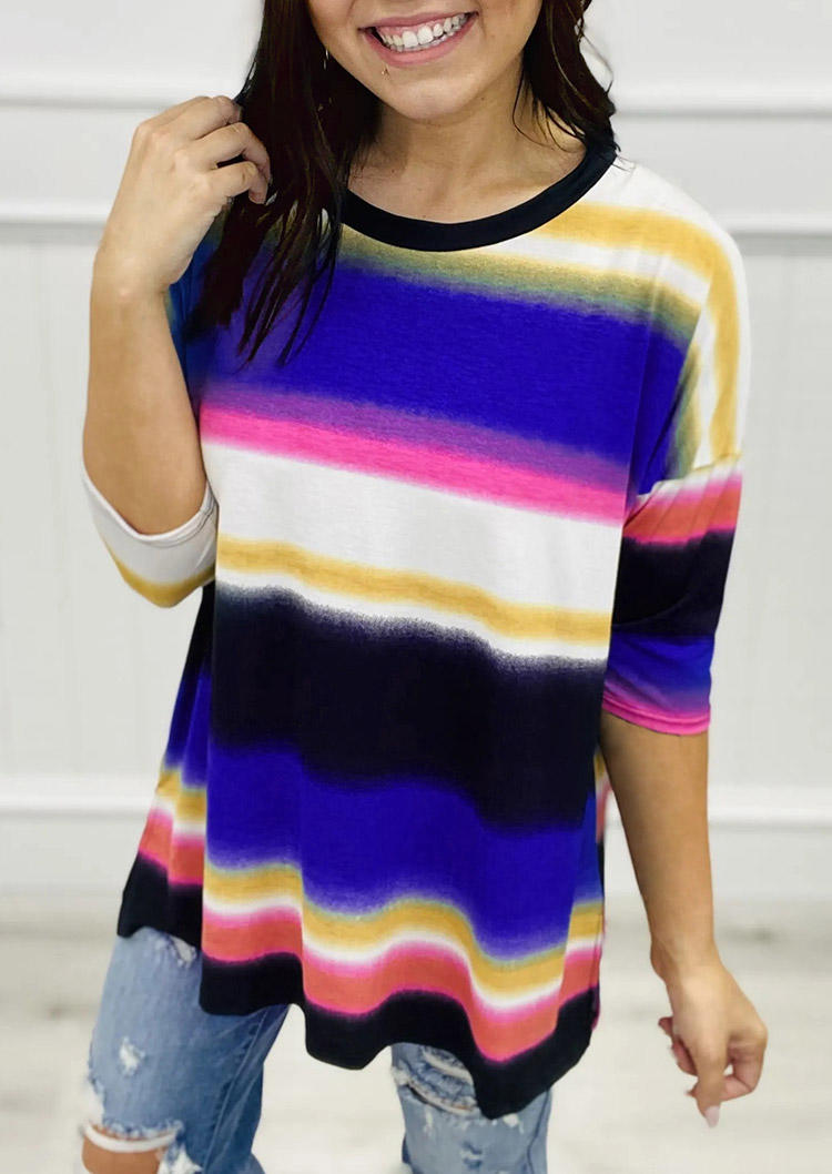 Colorful Striped Half Sleeve Blouse