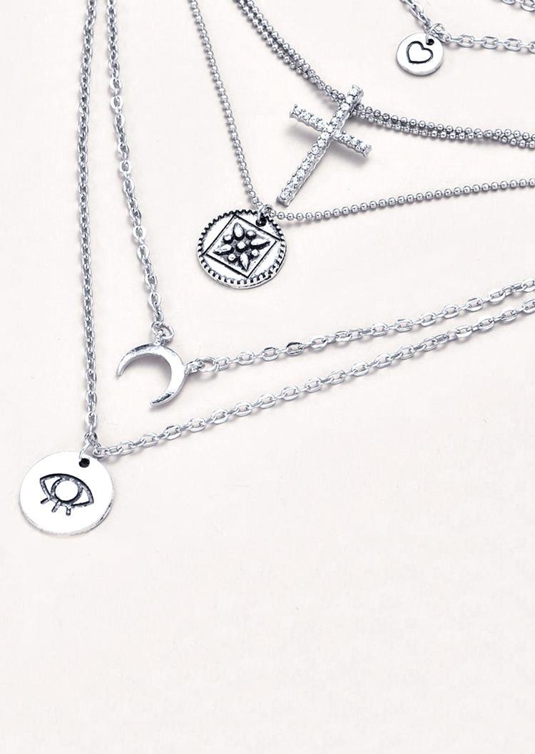 Heart Cross Moon Eye Multi-Layered Necklace