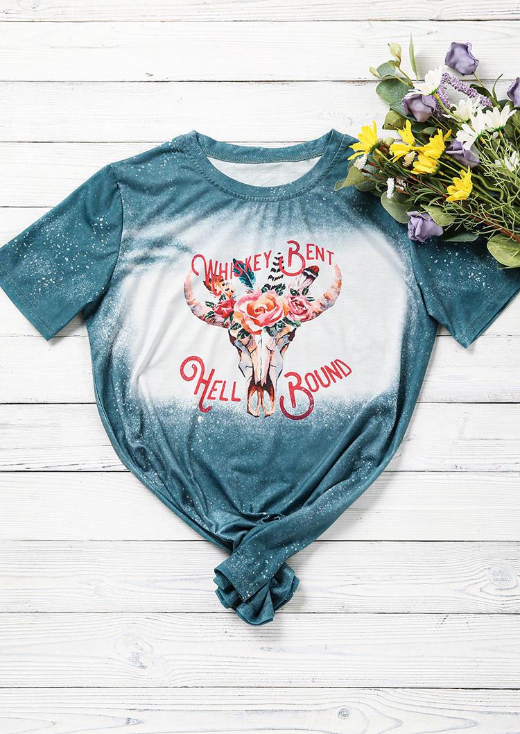Steer Skull Floral Bleached T-Shirt Tee - Cyan