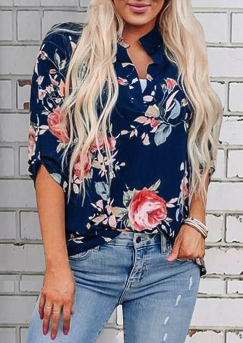 Floral Tab-Sleeve Casual Blouse