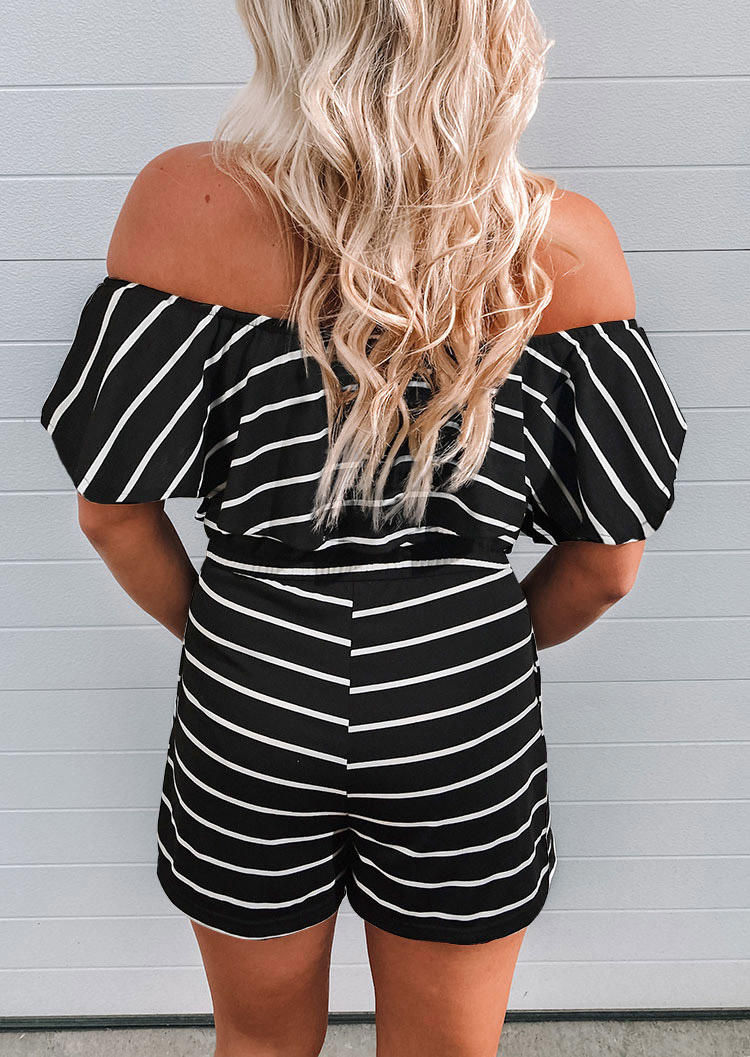 Striped Ruffled Pocket Off Shoulder Romper - Black