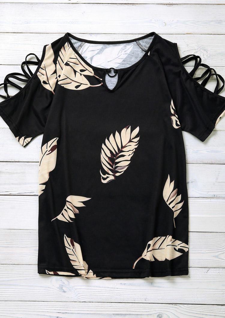 Palm Leaf Criss-Cross Cold Shoulder Keyhole Neck Blouse - Black