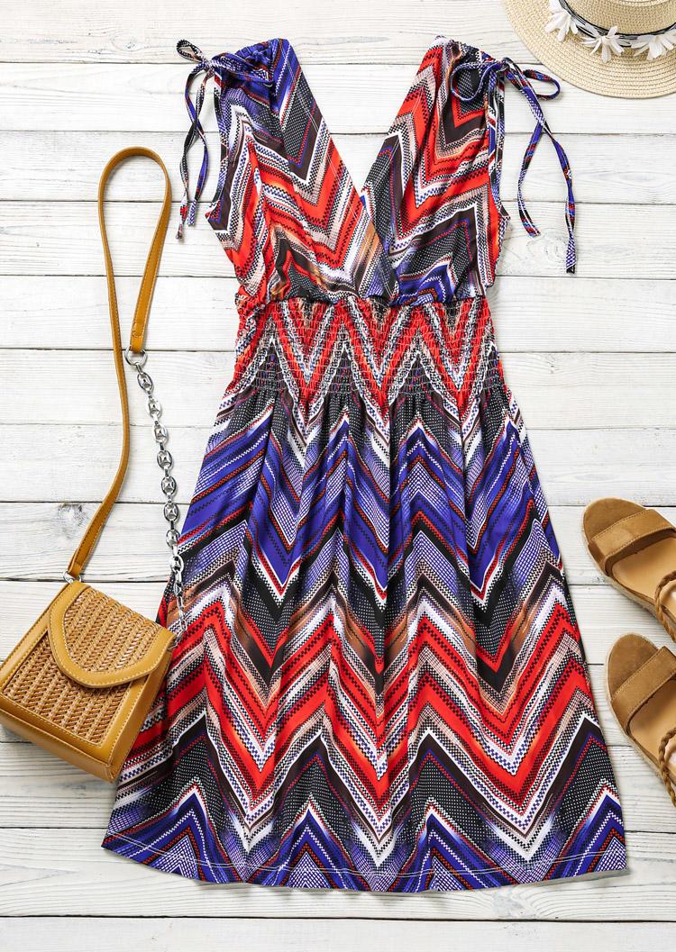 Zigzag Smocked Waist Tie Mini Dress