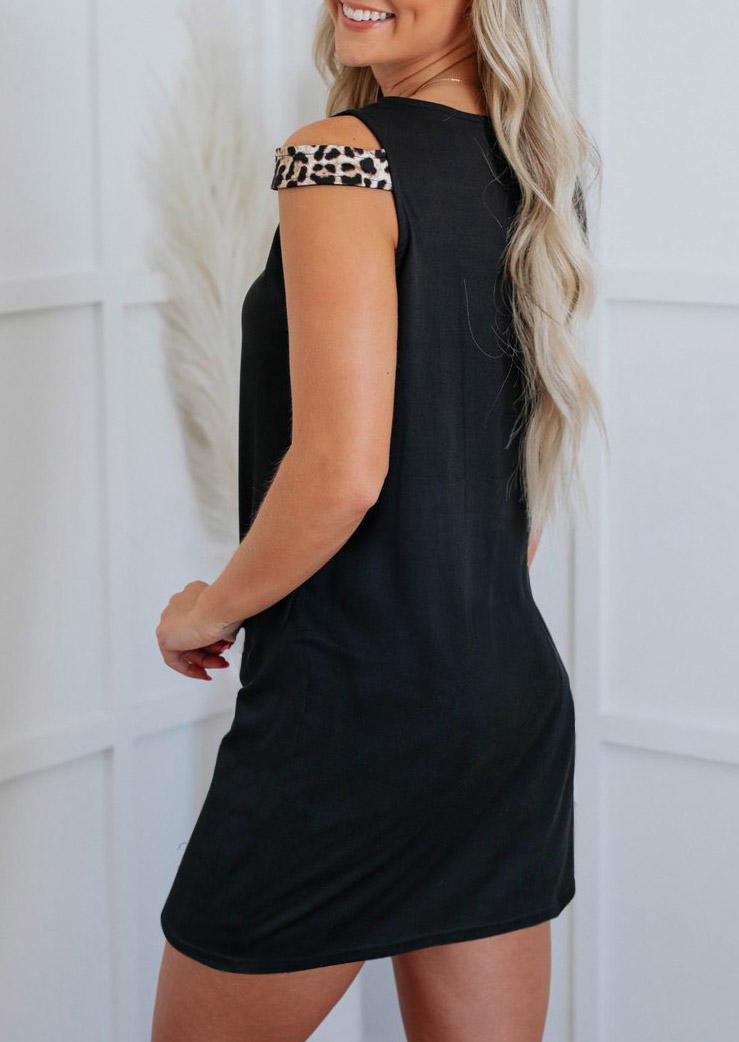 Leopard Cut Out Sleeveless Mini Dress - Black