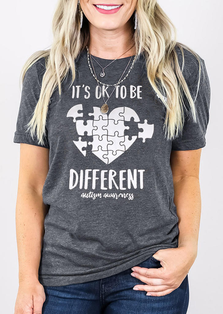 It's Ok To Be Different Heart T-Shirt Tee - Gray