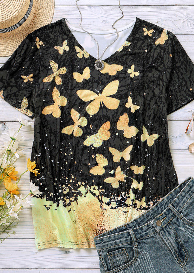 Butterfly Short Sleeve Casual Blouse - Black