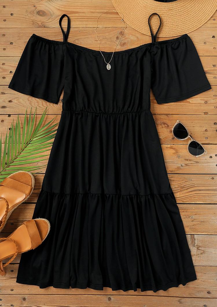 Cold Shoulder Short Sleeve Mini Dress - Black