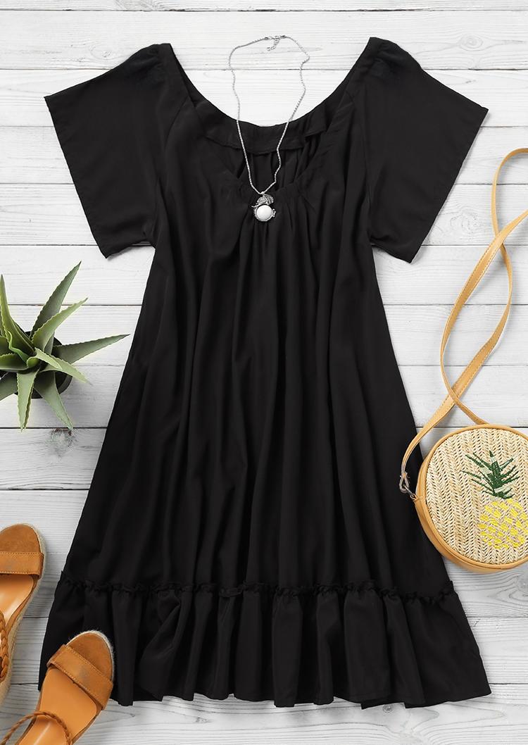 Ruffled Short Sleeve Mini Dress - Black