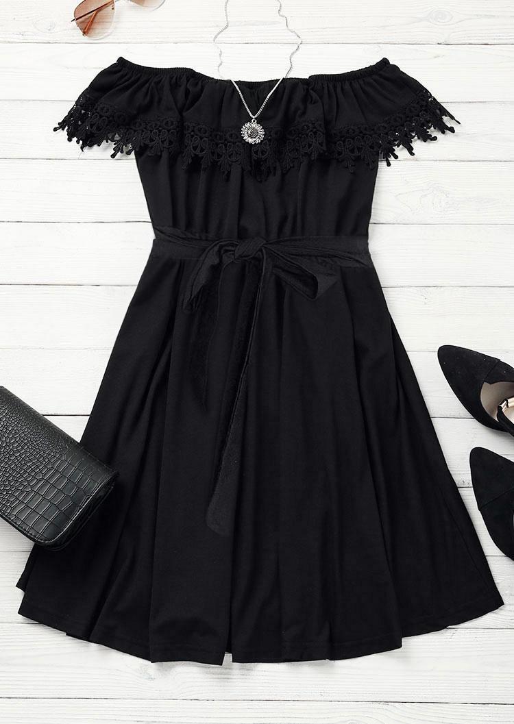 Lace Off Shoulder Mini Dress - Black