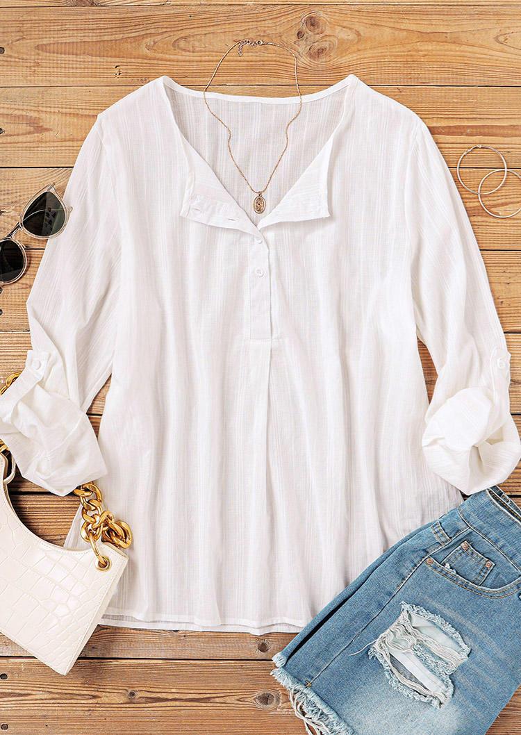 Button Long Sleeve Blouse - White