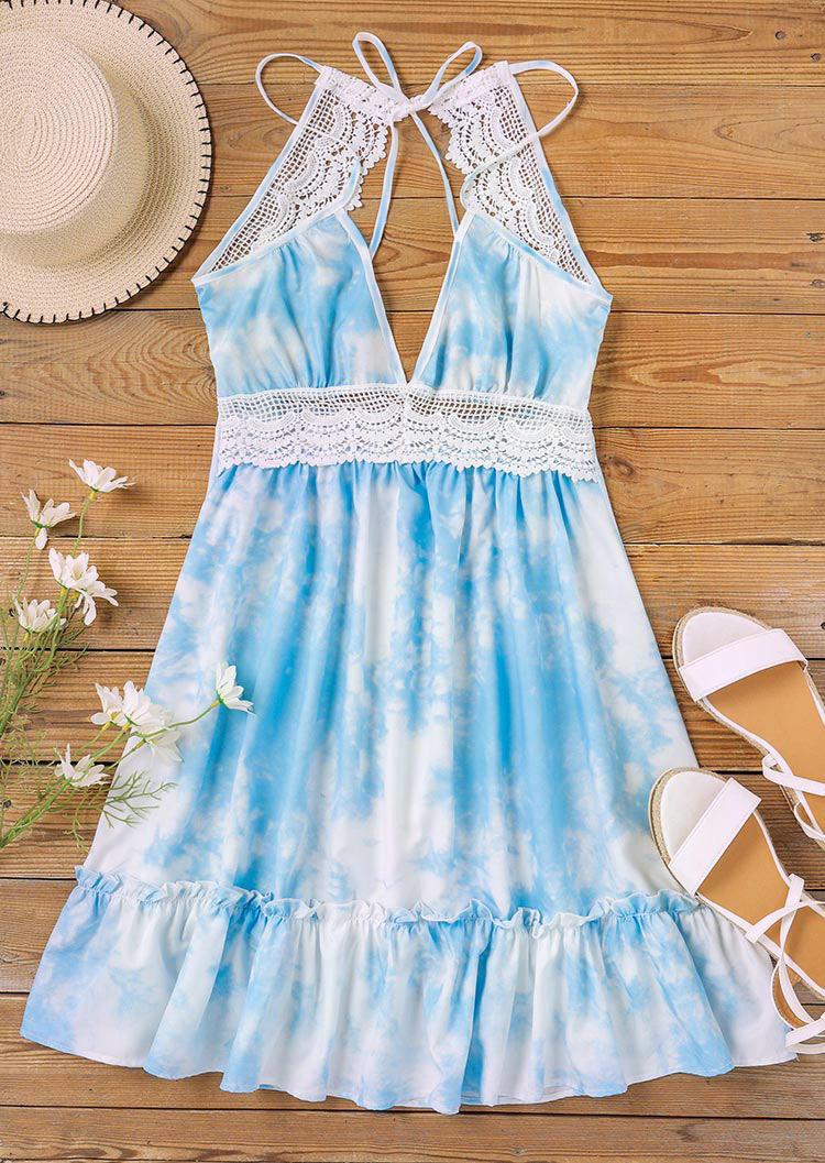 Tie Dye Lace Splicing Open Back Tie Mini Dress