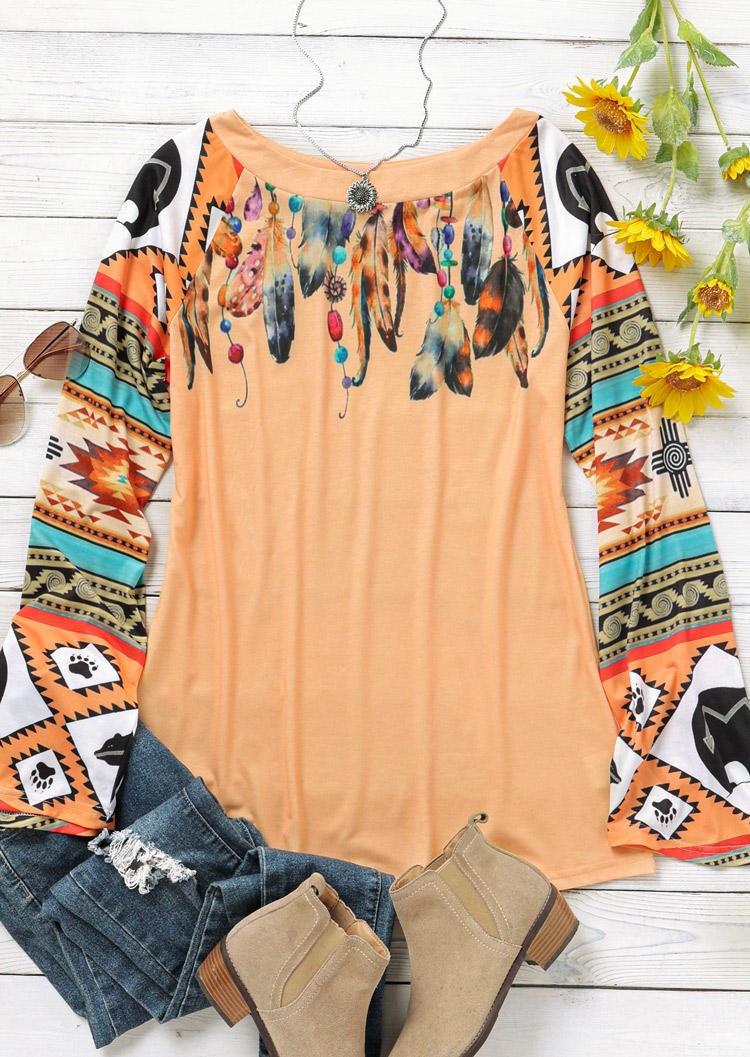Feather Aztec Geometric Long Sleeve Blouse - Orange