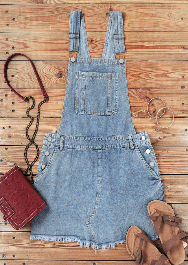 Frayed Hem Pocket Denim Overall Mini Dress - Blue