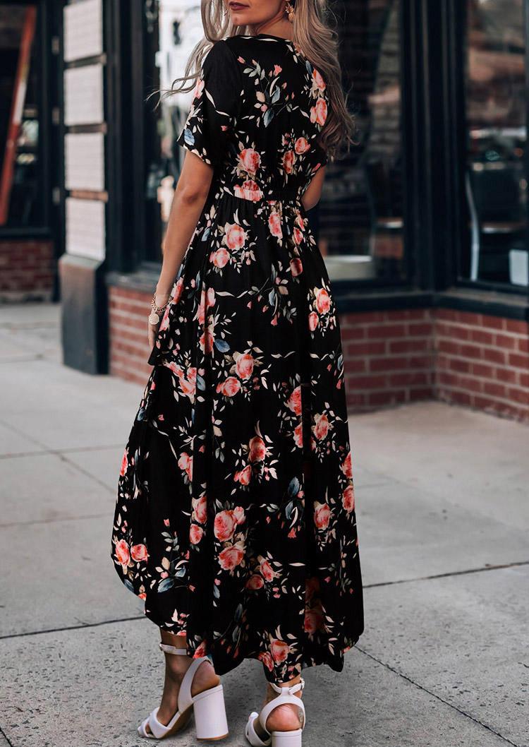 Floral Asymmetric Slit Elastic Waist V-Neck Maxi Dress - Black