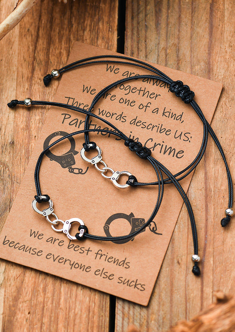 2Pcs Partners Crime Handcuff Braided Bracelet