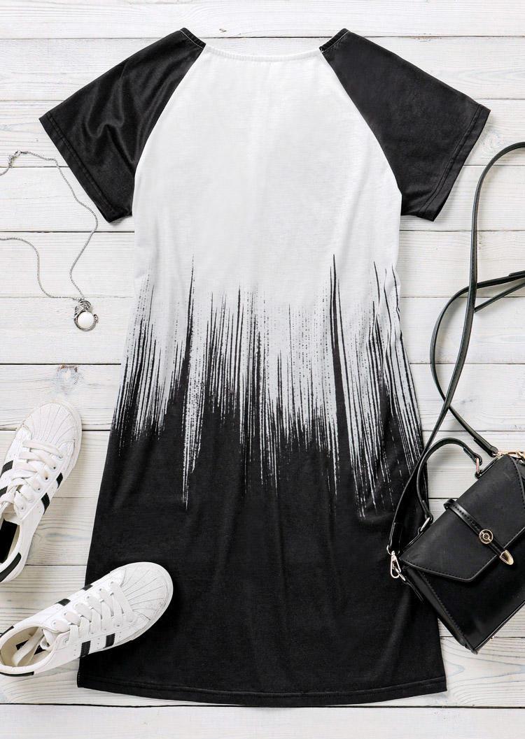 Vintage Floral Raglan Sleeve V-Neck Mini Dress - Black