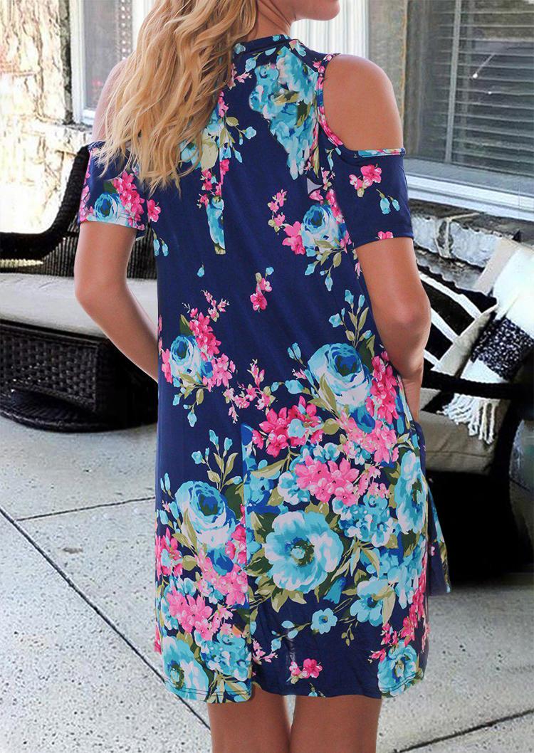Floral Pocket Cold Shoulder Mini Dress - Navy Blue