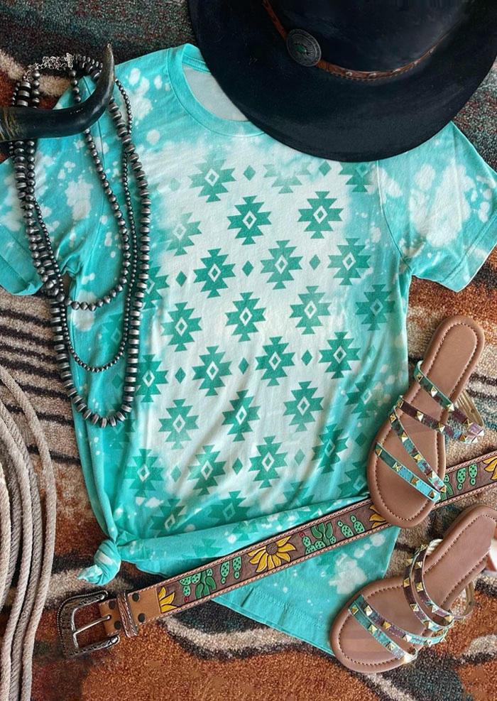 Aztec Geometric Tie Dye O-Neck T-Shirt Tee - Light Blue