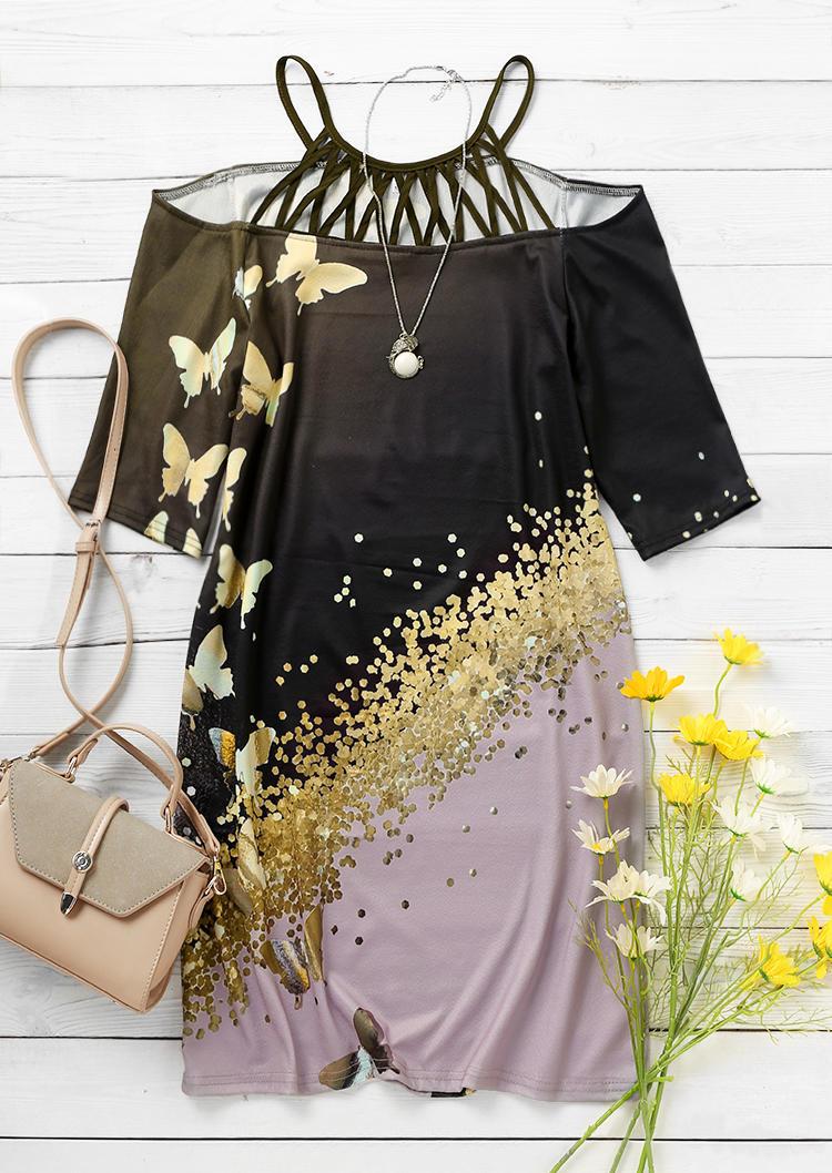 Butterfly Criss-Cross Cold Shoulder Mini Dress