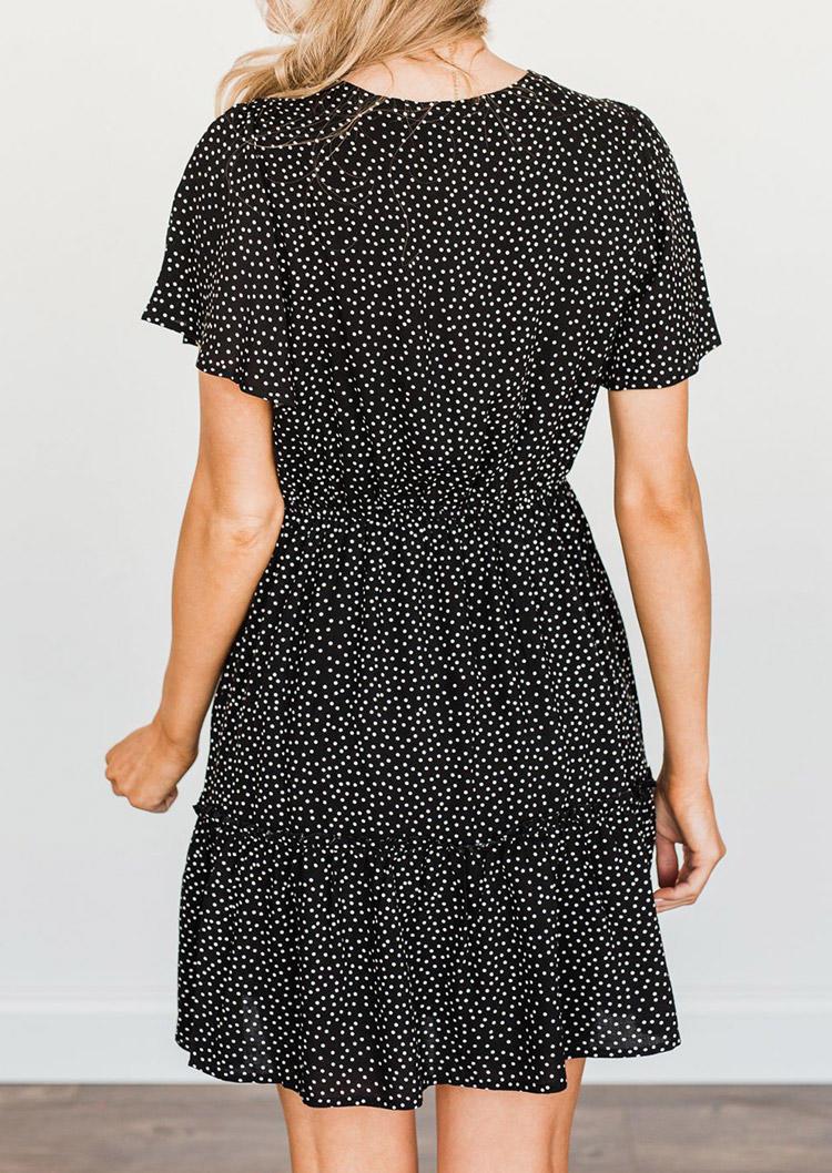 Polka Dot V-Neck Mini Dress - Black