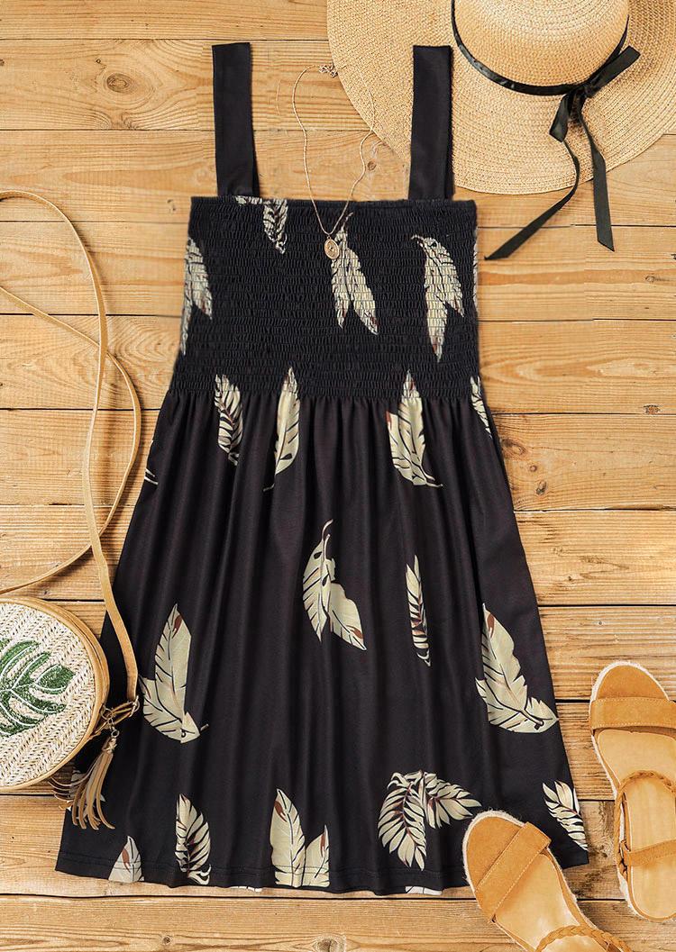 Leaf Smocked Ruffled Mini Dress - Black