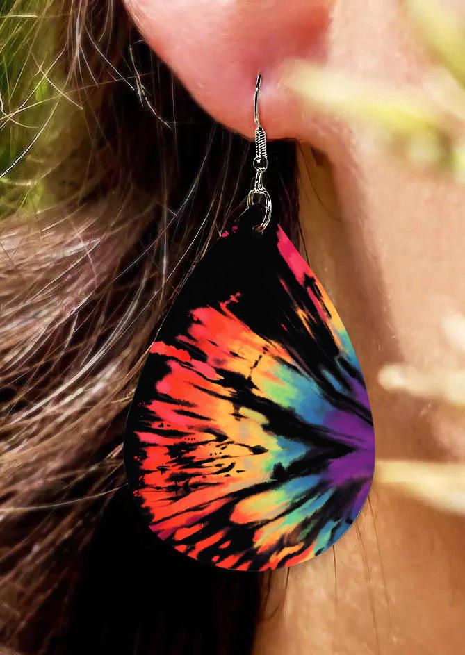 Reverse Tie Dye Rainbow Water Drop Earrings