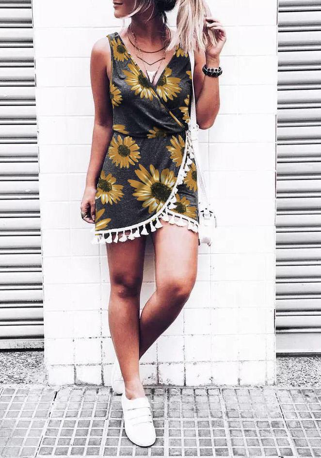 Sunflower Tassel Elastic Waist Wrap V-Neck Mini Dress