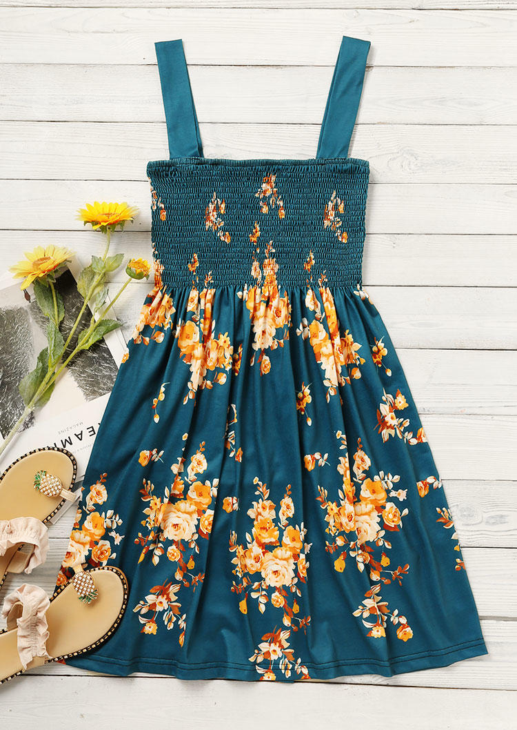 Floral Smocked Spaghetti Strap Mini Dress - Dark Green