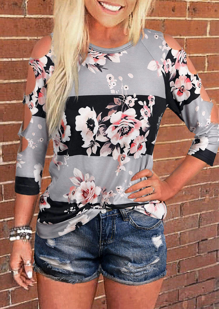 Floral Hollow Out Three Quarter Sleeve Blouse