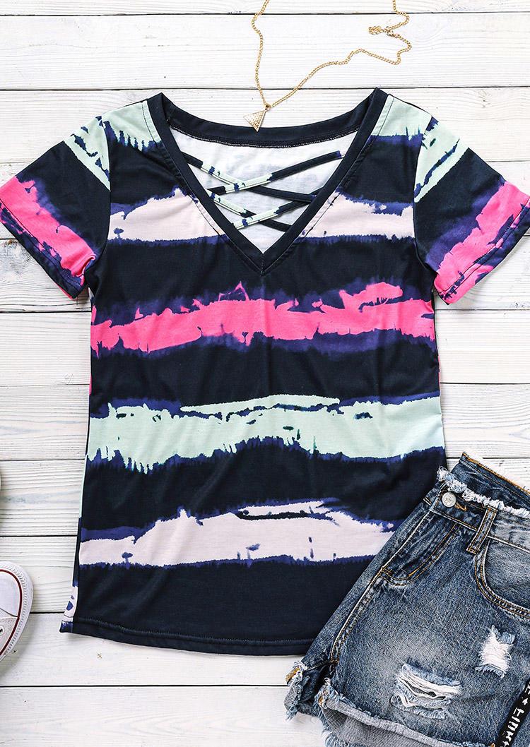 Tie Dye Striped Criss-Cross Blouse