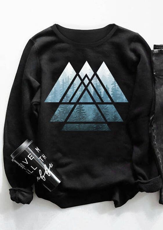 Forest Geometric Pullover Sweatshirt - Black