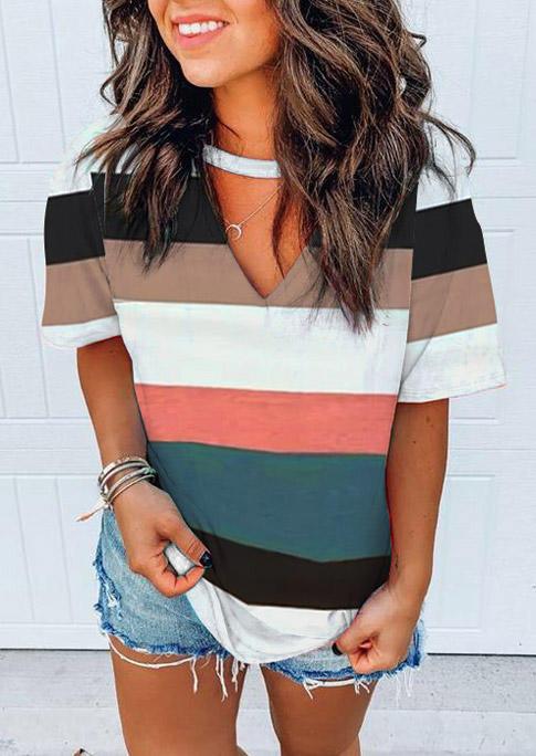 Colorful Striped Keyhole Neck Short Sleeve Blouse