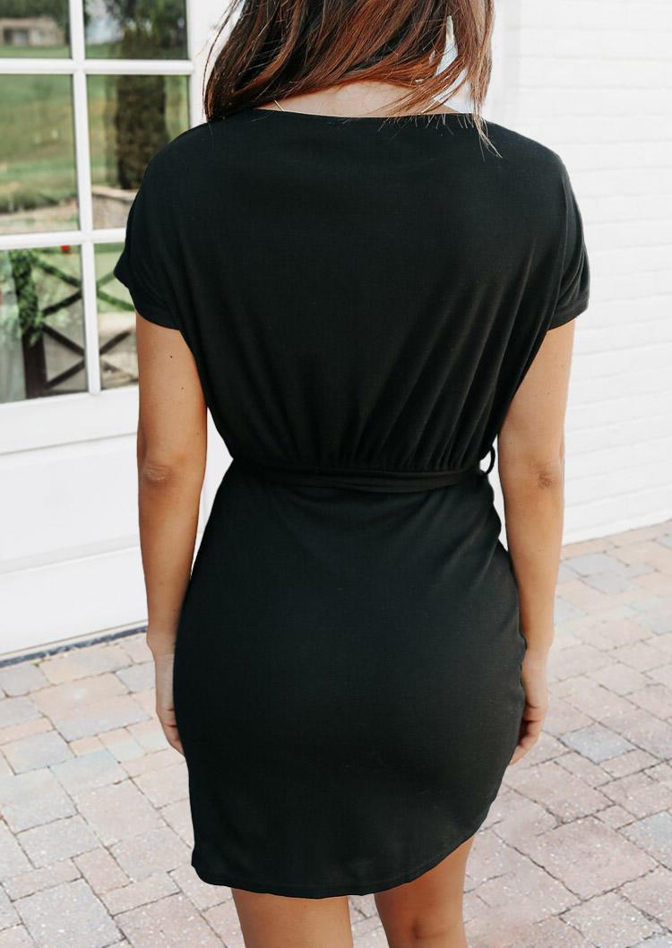O-Neck Short Sleeve Mini Dress - Black