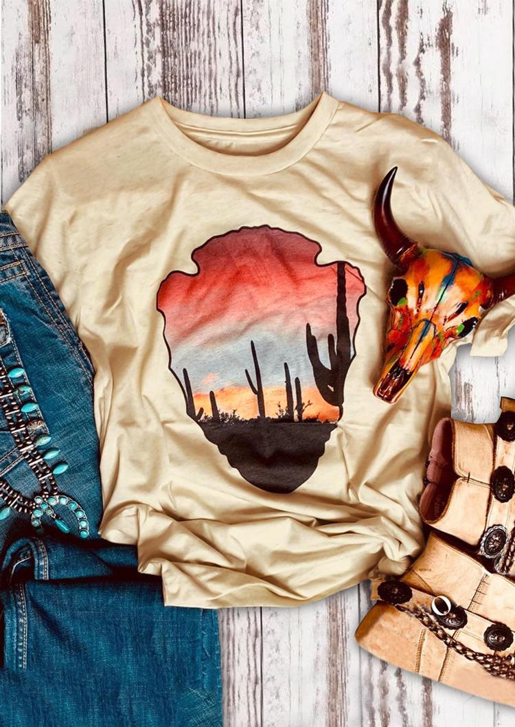 Cactus Short Sleeve O-Neck T-Shirt Tee -  Apricot