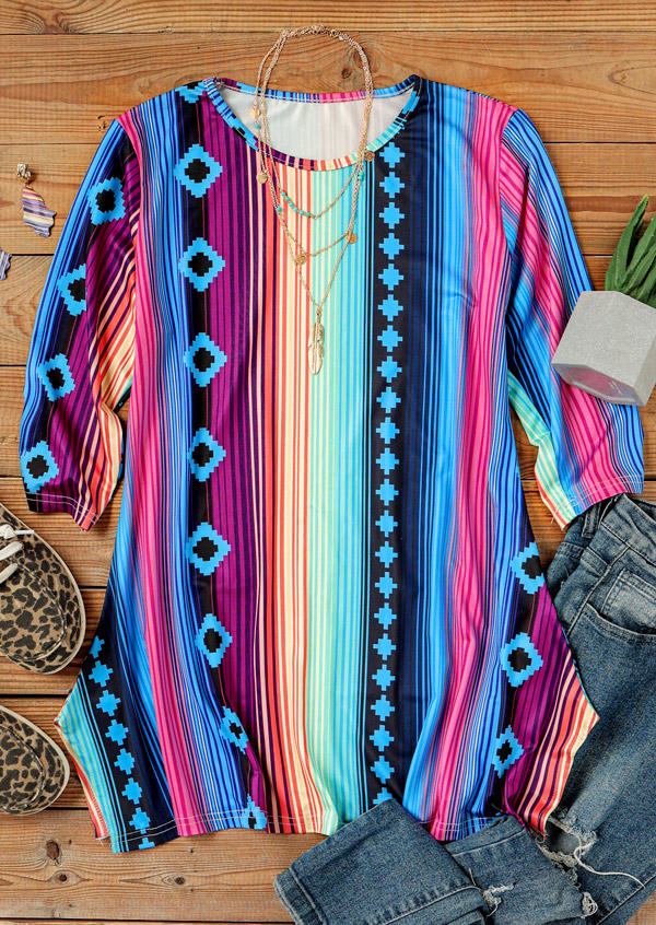 Western Rainbow Striped Aztec Geometric Blouse