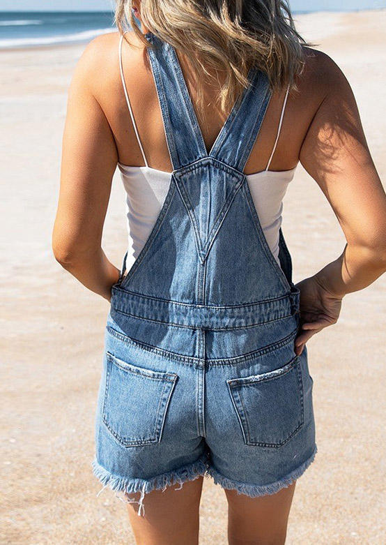 Pocket Button Ripped Hole Denim Overall Romper - Blue