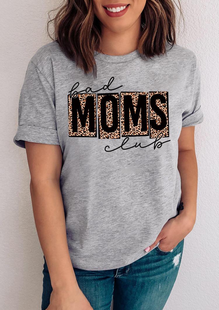 Bad Moms Club Leopard T-Shirt Tee - Gray