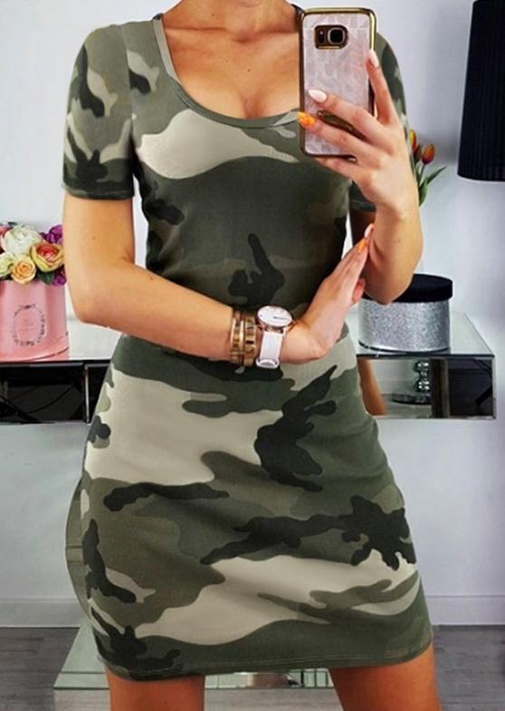 Camouflage Zipper Short Sleeve Bodycon Dress