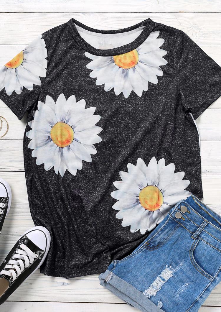 Daisy O-Neck Short Sleeve Blouse - Black