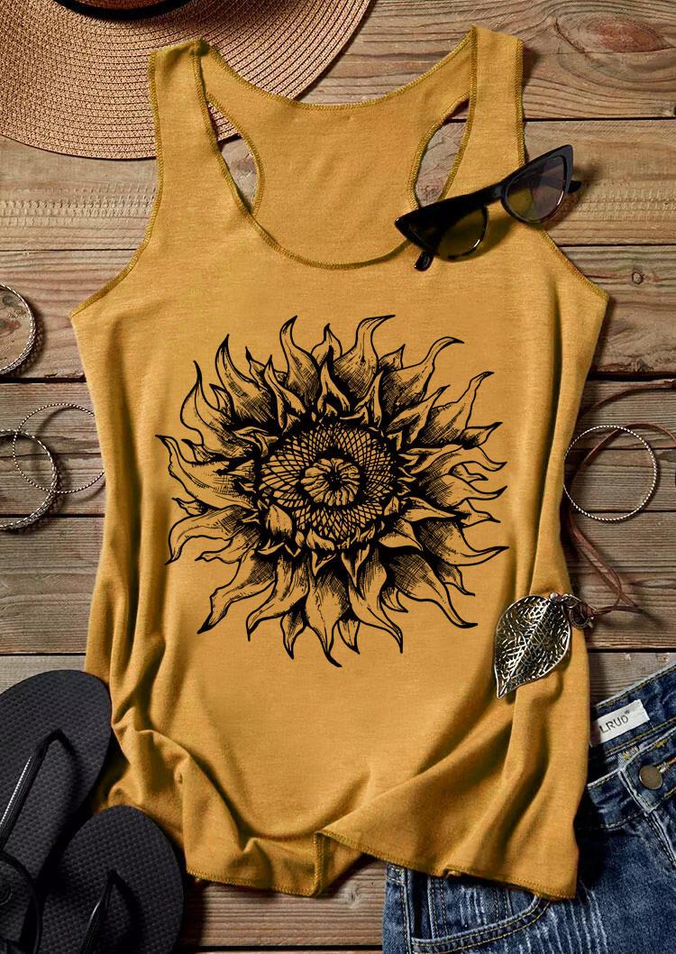 Sunflower Sleeveless Racerback Tank - White