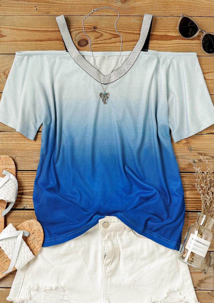 Glitter Gradient Cold Shoulder Blouse - Blue