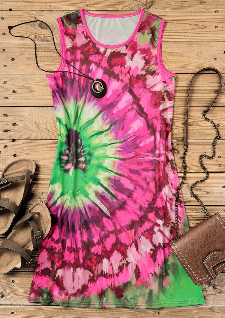 Tie Dye O-Neck Sleeveless Mini Dress