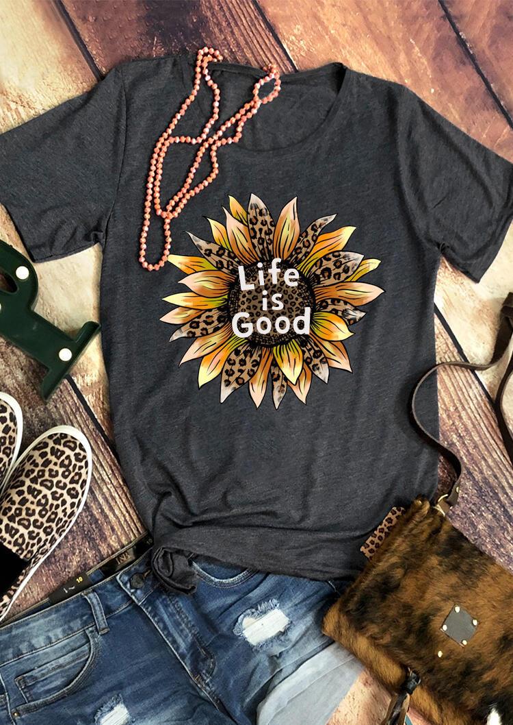Life Is Good Leopard Sunflower T-Shirt Tee - Dark Grey